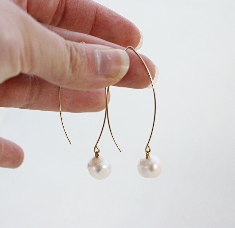 Pearl Hoops 14K Gold Earrings French Wire Pearl Earrings Freshwater Pearl Earrings Open Hoop Earrings Arc Earrings Pearl Drop Earrings