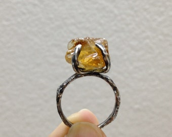 Size 7.75-8 // Rough citrine sterling silver ring, large citrine organic ring