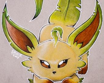Leafeon Fan Art- Print