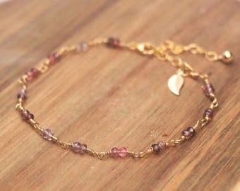 Spinel Gold Filled Bracelet With Leaf Charm - Spinel Bracelet, Gemstone Bracelet, Crystal Bracelet, Bead Bracelet, Delicate Bracelet