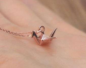 Rose Gold origami Bird Necklace - Delicate Necklace, Birthday Gift, Girlfriend Gift, Charm Necklace, Pink Necklace