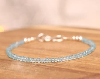 Apatite Sterling Silver Bracelet - Apatite Bracelet, Gemstone Bracelet, Crystal Bracelet, Delicate Bracelet, Blue Bracelet