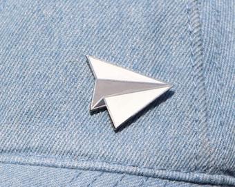 Paper Airplane Enamel Pin / Airplane Lapel Pin / Hard Enamel Pin