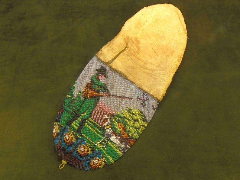 Antique very rare micro-bead drawstring gunpowder bag 1875.