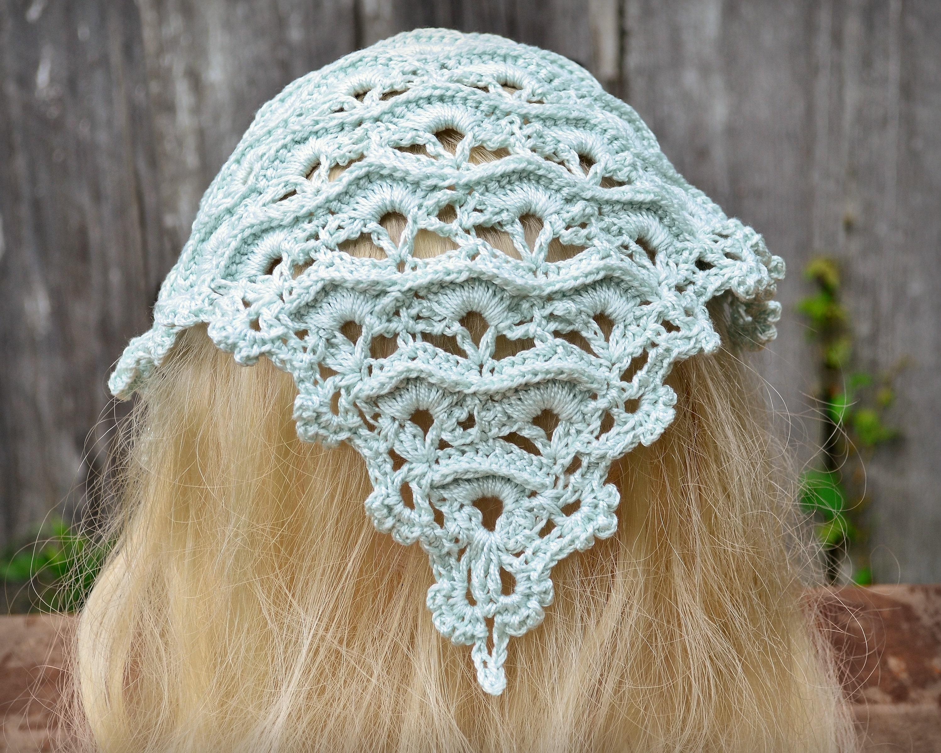 Crocheted Bandana Crochet Kerchief Handmade Head Scarf Etsy