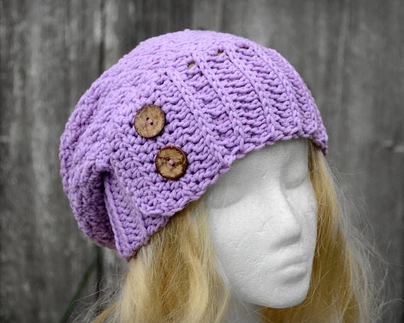 Ladies purple beanie crocheted slouch hat light purple hat  88f70fd477d