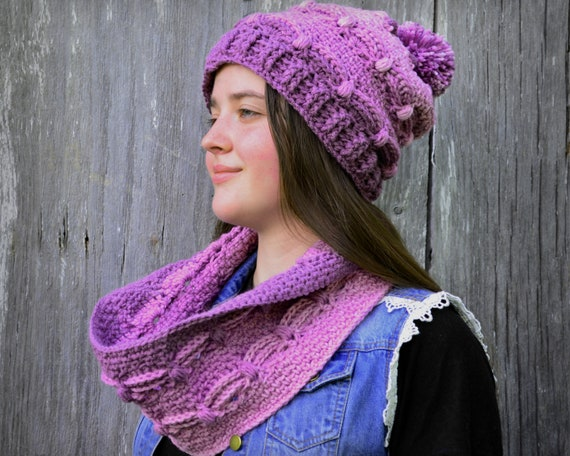 ac6b39aac9938 Hat and scarf set plum purple womens hat and cowl textured
