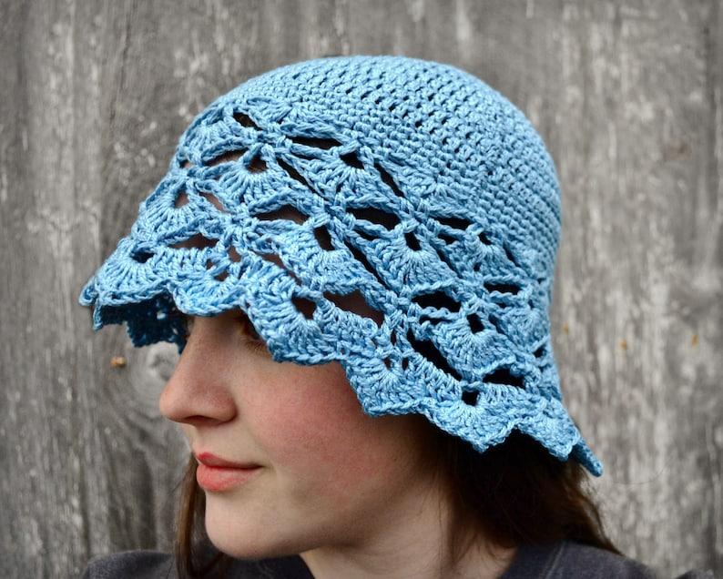 crochet summer hat Ladies summer hat crocheted sunhat womens crochet hat cotton sun hat adult sun hat light blue summer cloche hat