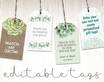 Succulent plant labels gift tags potted cactus seeds, watch me grow diy wedding favors thank you printable, bridal shower, editable template