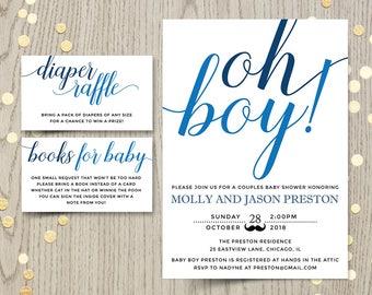Oh boy baby shower etsy oh boy baby shower invitation card couples shower invite blue baby boy shower printable invitation personalized invitation digital filmwisefo