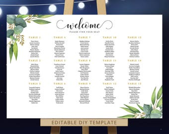 Eucalyptus seating chart botanical wedding, printable PDF template, editable seating table plan gum leaves green DIY - 18x24 / 24x36 DIGITAL