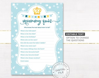 mommy quiz card editable who knows mommy best printable baby shower game supplies customized questions digital download