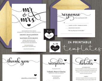 DIY wedding invitation kits mr and mrs, printable do it yourself templates, editable PDF, black and white script, DIGITAL