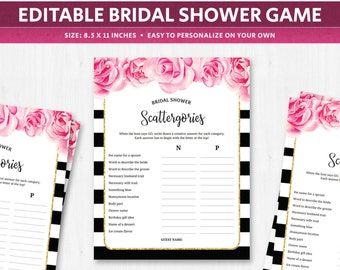 bridal scattergories categories game deep pink fuschia flowers florals topics worksheet template quiz question cards french spanish digital