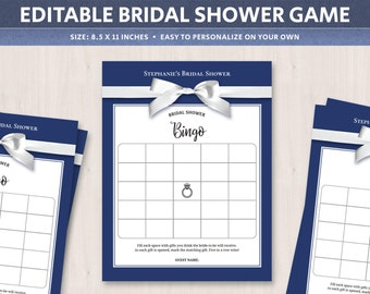 bridal shower bingo template bridal bingo cards printable game navy editable bride to be gifts bingo games digital