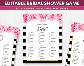 whats in your purse wedding shower game editable template questions quiz game bridal shower deep pink floral what in your purse list pdf