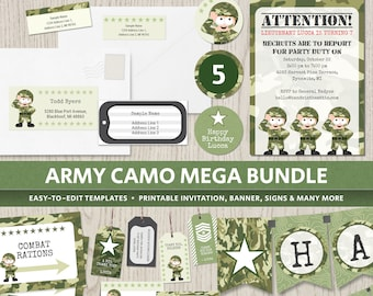 army camo birthday party theme party invitations supplies camouflage decorations soldier military banner boys digital printable templates