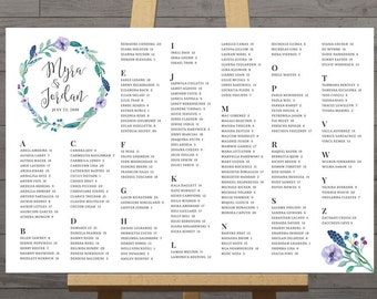 Table seating plan wedding, printable, blue floral, reception welcome sign, XL table assignment poster, guest seating chart, DIGITAL