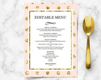 diy bridal shower menu cards for wedding reception engagement dinner buffet table pink blush gold polka dot editable template digital