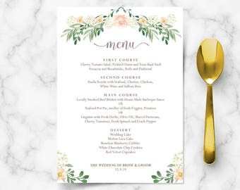 floral wedding menu template printable menu template diy etsy