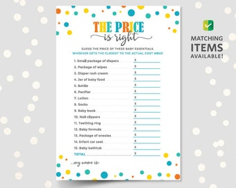 the price is right baby shower game printable template cards sheets for boys girls unisex coed large groups pdf instant download