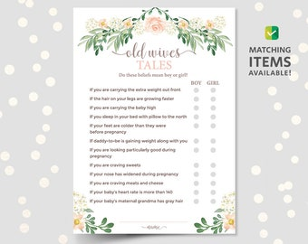 baby shower old wives tale trivia game quiz baby myth fact or fiction true or false questions printable download pdf pink floral girl