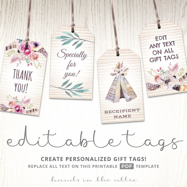 Editable boho tags gifts favors printable template labels etsy image 0 maxwellsz