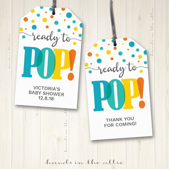 Baby Shower Labels Ready To Pop Gift Tags Favor Hang