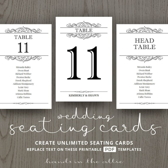 Seating Cards For Wedding Table Number Printable Templates Etsy