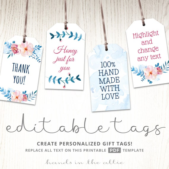 Printable Floral Gift Tags Party Favors Editable Labels Baby Etsy