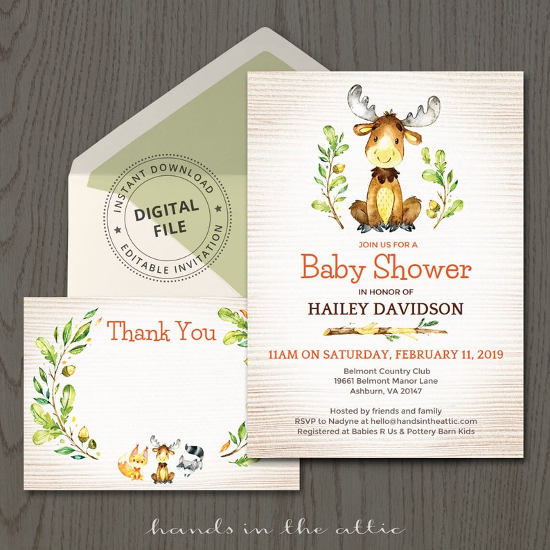 photo regarding Moose Template Printable referred to as Boy or girl shower invitation, moose invitation, deer elk caribou reindeer, woodland creature, forest animal, editable get together invitation, Electronic