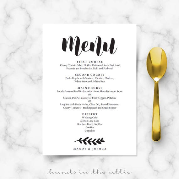 editable wedding menu template download wedding printables etsy