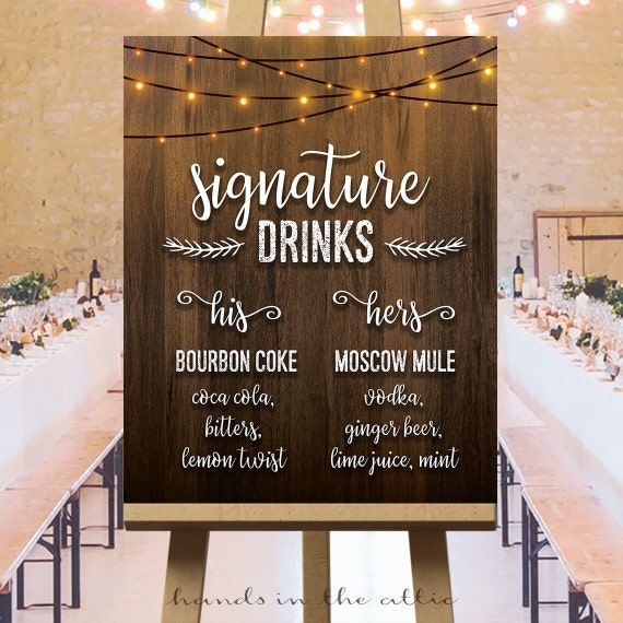 Wedding Drinks Ideas: Signature Drinks Wedding Sign His And Hers Cocktails