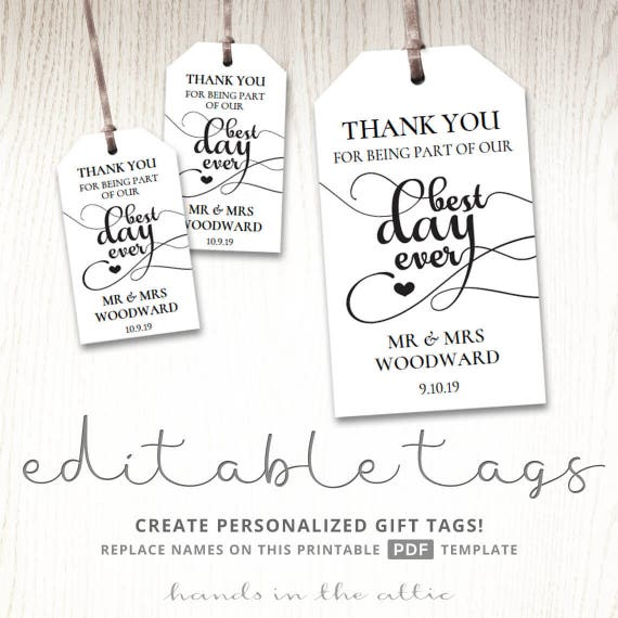 Wedding Gift Tags Template: Gift Tags For Wedding Day, Thank You Best Day Ever
