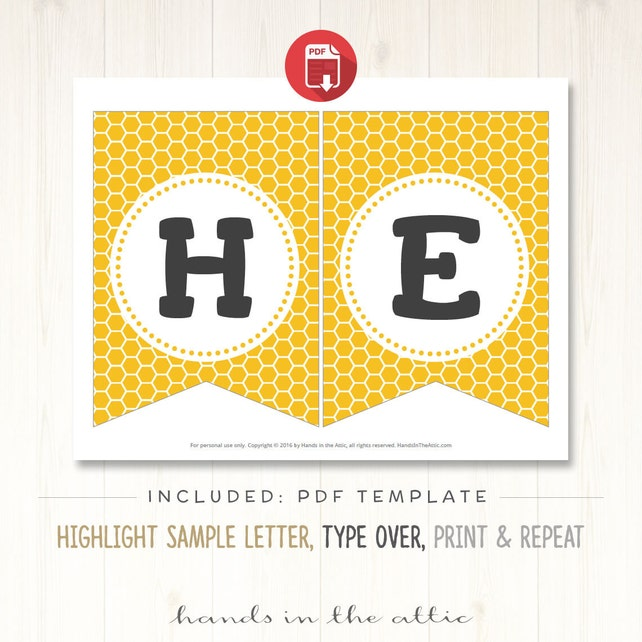 Bumblebee Birthday Party Banner Bumble Bee Banner Alphabet Bunting