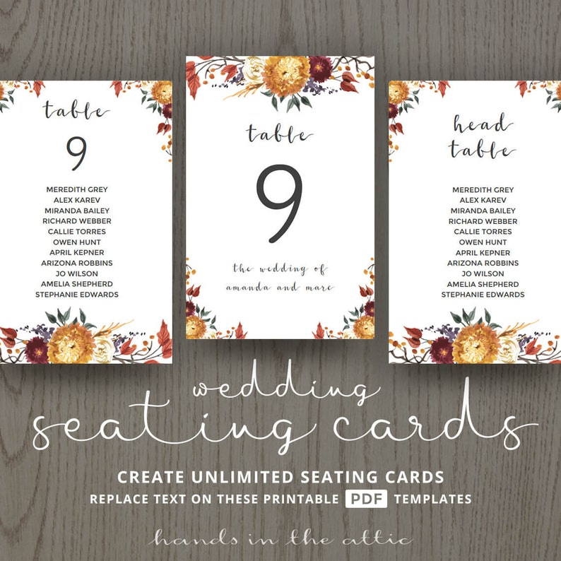 guests reception table number templates Fall wedding rustic themed decor ideas editable DIGITAL decorations diy seating cards