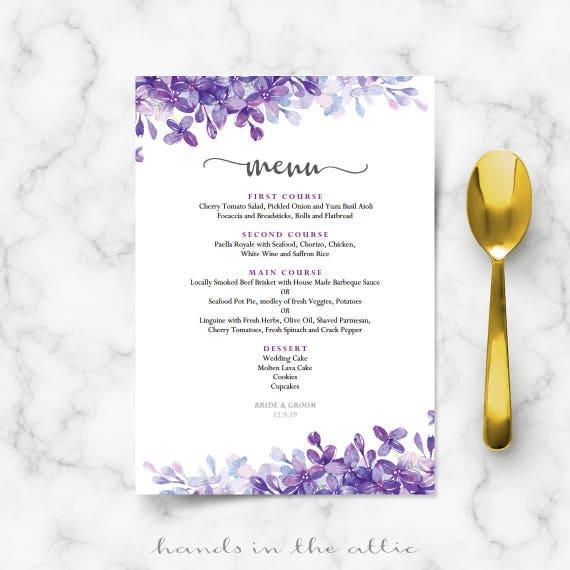 Printable Menu Cards For Weddings Lilac Lavender Periwinkle Wedding