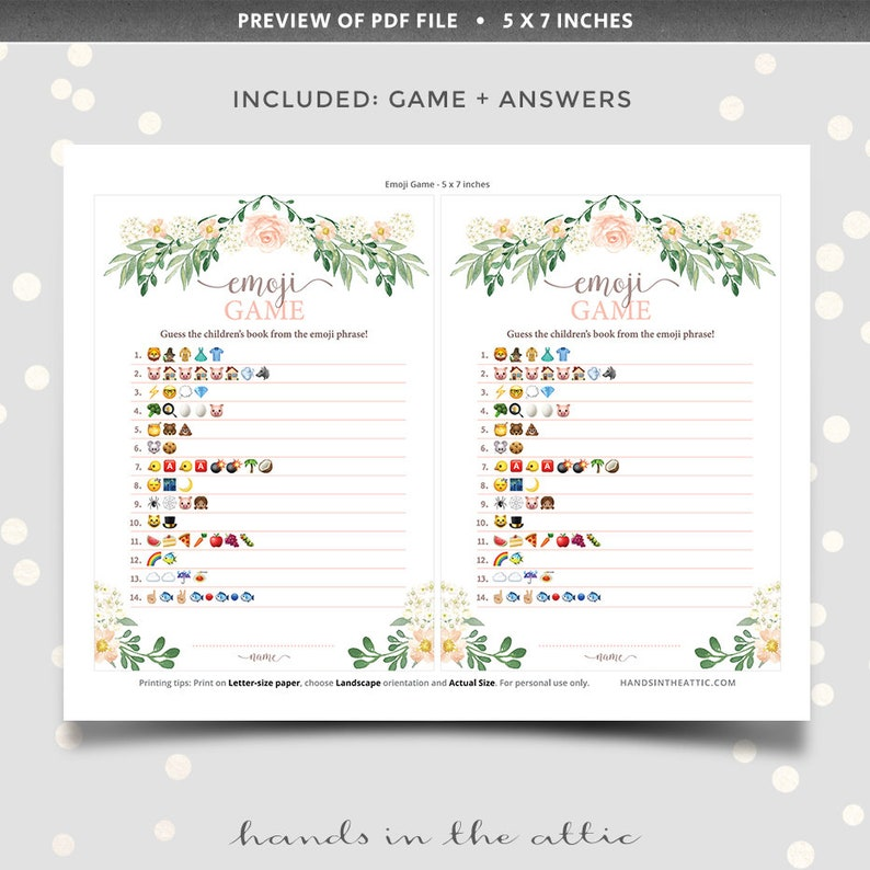 Baby shower emoji game pictionary printable with answer ...
