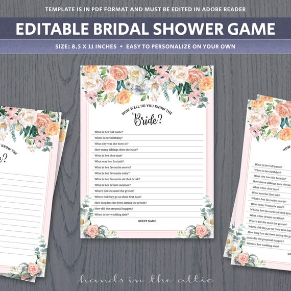 How Well Do You Know The Bride Shower Game, Icebreaker