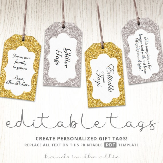 glitter gift tags gold silver printable editable template etsy