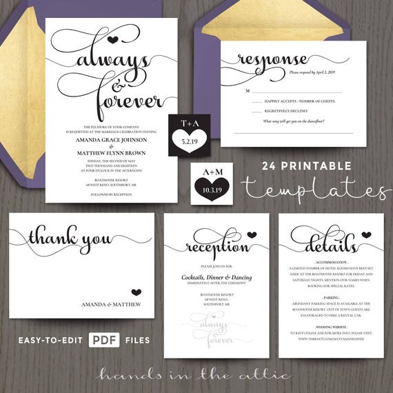Printable Wedding Invitation Kits Sets In Black Etsy