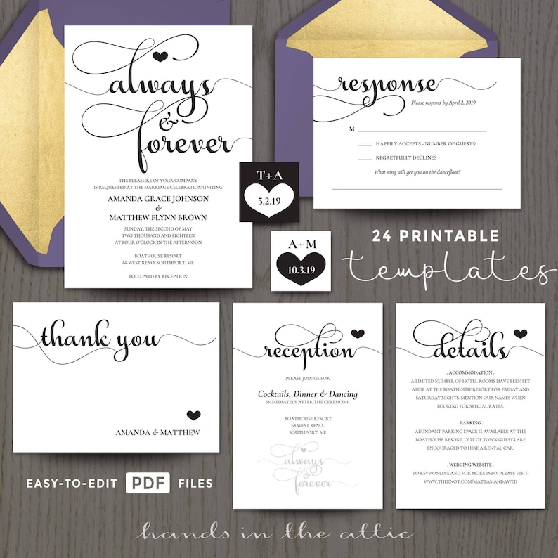 photo regarding Printable Invitations Kits named Printable wedding ceremony invitation kits sets, within just black, customizable, and with RSVP card sets, exquisite usually and for good, Electronic templates, Do it yourself