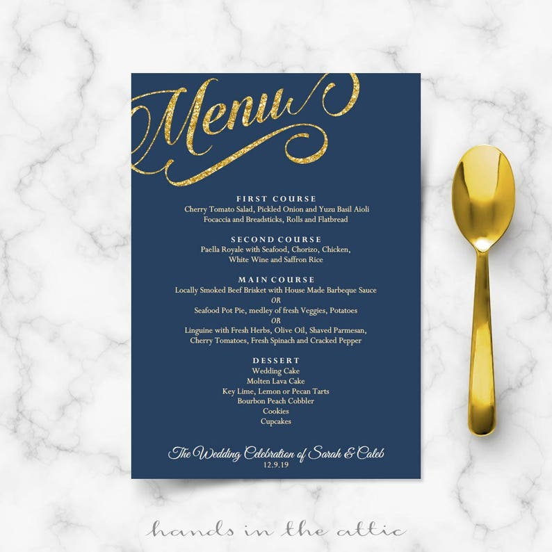 Menu Template Dark Blue And Gold Wedding Navy Blue Theme Etsy