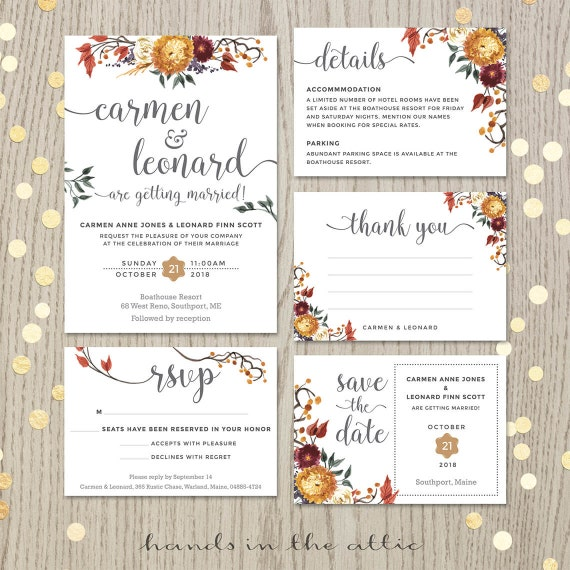 Fall Wedding Invitation Set Floral Wedding Autumn Flowers Etsy