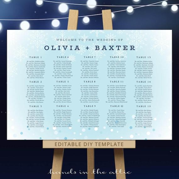 Winter Wedding Seating Chart Template Editable Table Plan Pdf