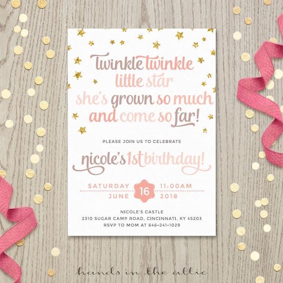 Twinkle Little Star Starry Birthday Poem Invitation Card Printable Gold Stars Twinkling Pink Prose Poetry Invite DIGITAL