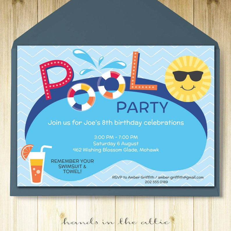 Pool Party Invitation Card Editable Template Printable