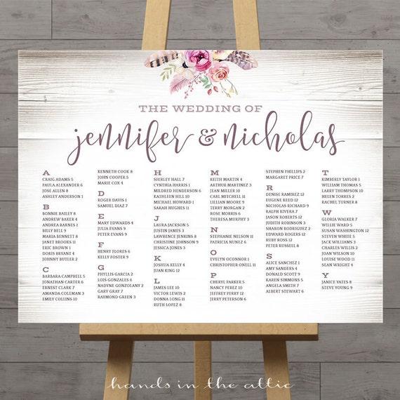 Alphabetical Wedding Seating Chart Printable Wedding Seat Signs