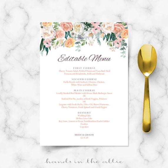 Wedding Food Buffet Menus: Wedding Buffet Menu Cards Floral Diy Template Wedding