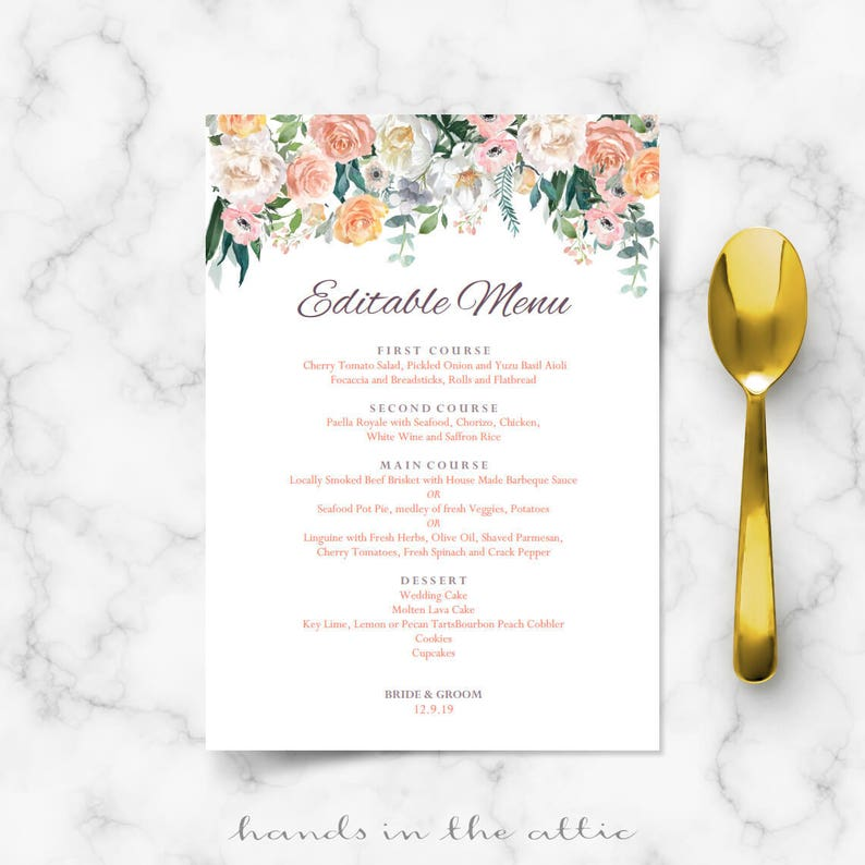 Wedding buffet menu cards floral diy template wedding dinner  Etsy
